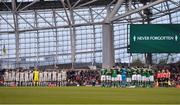12 April 2019; Both teams during a moments silence ahead of the Sean Cox Fundraiser match between the Republic of Ireland XI and Liverpool FC Legends at the Aviva Stadium in Dublin. Photo by Sam Barnes/Sportsfile