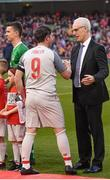 12 April 2019; Republic of Ireland manager Mick McCarthy, right, and Robbie Fowler of Liverpool FC Legends shake hands ahead of the Sean Cox Fundraiser match between the Republic of Ireland XI and Liverpool FC Legends at the Aviva Stadium in Dublin. Photo by Sam Barnes/Sportsfile