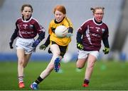 15 April 2019; Action during the match between Loch Mhic Ruairi Naomh Theresa, Co. Tyrone, and  Ardfinnan, Co. Tipperary, during the LGFA U10 Go Games Activity Day at Croke Park in Dublin. Photo by Harry Murphy/Sportsfile