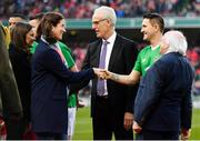 12 April 2019; President of Ireland Michael D Higgins, right, Robbie Keane of Republic of Ireland XI and Republic of Ireland manager Mick McCarthy are introduced to Martina Cox ahead of the Sean Cox Fundraiser match between the Republic of Ireland XI and Liverpool FC Legends at the Aviva Stadium in Dublin. Photo by Sam Barnes/Sportsfile
