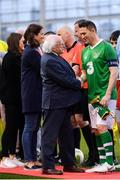 12 April 2019; President of Ireland Michael D Higgins shakes hands with Robbie Keane of Republic of Ireland XI ahead of the Sean Cox Fundraiser match between the Republic of Ireland XI and Liverpool FC Legends at the Aviva Stadium in Dublin. Photo by Sam Barnes/Sportsfile