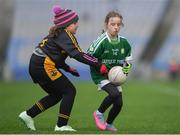 15 April 2019; Action during the match between Loch Mhic Ruairi Naomh Theresa, Co. Tyrone, and Kilbride, Co. Roscommon, during the LGFA U10 Go Games Activity Day at Croke Park in Dublin. Photo by Harry Murphy/Sportsfile