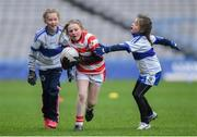 15 April 2019; Action during the match between  Cappagh, Co. Kildare, and Dromintee St Patricks team, Co. Armagh, during the LGFA U10 Go Games Activity Day at Croke Park in Dublin. Photo by Harry Murphy/Sportsfile