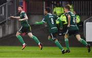 15 April 2019; Patrick McClean, left, of Derry City celebrates after scoring his side's first goal during the SSE Airtricity League Premier Division match between St Patrick's Athletic and Derry City at Richmond Park in Dublin. Photo by Seb Daly/Sportsfile