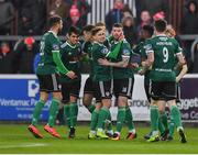 15 April 2019; Patrick McClean, left, of Derry City, 16, is congratulated by team-mates after scoring his side's first goal during the SSE Airtricity League Premier Division match between St Patrick's Athletic and Derry City at Richmond Park in Dublin. Photo by Seb Daly/Sportsfile