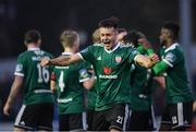 15 April 2019; Josh Kerr of Derry City celebrates following his side's second goal, scored by team-mate Gerardo Bruna, during the SSE Airtricity League Premier Division match between St Patrick's Athletic and Derry City at Richmond Park in Dublin. Photo by Seb Daly/Sportsfile