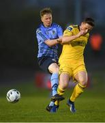 15 April 2019; Timmy Molloy of UCD in action against Dan Casey of Cork City during the SSE Airtricity League Premier Division match between UCD and Cork City at Belfield Bowl in Dublin. Photo by Eóin Noonan/Sportsfile