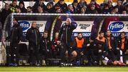 15 April 2019; Dundalk head coach Vinny Perth, 5th from left, reacts during the SSE Airtricity League Premier Division match between Dundalk and Bohemians at Oriel Park in Dundalk, Louth. Photo by Stephen McCarthy/Sportsfile