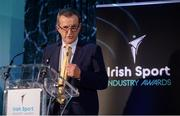 15 April 2019; Garrett Fitzgerald, CEO of Munster Rugby, speaking during the Irish Sport Industry Awards presented by the Federation of Irish Sport at Crowne Plaza Blanchardstown. Photo by Sam Barnes/Sportsfile