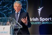 15 April 2019; Roddy Guiney, Chairperson of the Federation of Irish Sport, speaking during the Irish Sport Industry Awards presented by the Federation of Irish Sport at Crowne Plaza Blanchardstown. Photo by Sam Barnes/Sportsfile