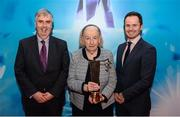 15 April 2019; Ann Murphy, from Technological University Dublin – City Campus, is presented with the 2019 Gradaim Comhairle Ardoideachais by outgoing Higher Education GAA chairman Gerry Tully, left, and Michael Hyland, Chairman, Higher Education GAA, as part of the Electric Ireland HE Rising Star Awards. The Electric Ireland HE GAA Rising Star Awards was hosted by Electric Ireland Sigerson and Fitzgibbon winners, UCC where the overall Footballer and Hurler of the Year was announced as well as the overall Football and Hurling team of the Year for the Electric Ireland Sigerson, Fitzgibbon and Higher Education Championships. #FirstClassRivals Photo by Diarmuid Greene/Sportsfile