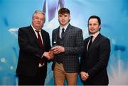 15 April 2019; Stephen McConville of St Mary's University Belfast who was named in the Electric Ireland HE GAA Rising Star Football Team of the Year 2019 is presented with his award by John Dwane of Electric Ireland, left, and Michael Hyland, Chairman, Higher Education GAA. The Electric Ireland HE GAA Rising Star Awards was hosted by Electric Ireland Sigerson and Fitzgibbon winners UCC where the overall Footballer and Hurler of the Year were announced as well as the overall Football and Hurling team of the Year for the Electric Ireland Sigerson, Fitzgibbon and Higher Education Championships. #FirstClassRivals Photo by Diarmuid Greene/Sportsfile
