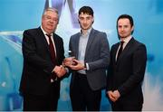 15 April 2019; Daniel O'Brien of UCC who was named in the Electric Ireland HE GAA Rising Star Football Team of the Year 2019 is presented with his award by John Dwane of Electric Ireland, left, and Michael Hyland, Chairman, Higher Education GAA. The Electric Ireland HE GAA Rising Star Awards was hosted by Electric Ireland Sigerson and Fitzgibbon winners UCC where the overall Footballer and Hurler of the Year were announced as well as the overall Football and Hurling team of the Year for the Electric Ireland Sigerson, Fitzgibbon and Higher Education Championships. #FirstClassRivals Photo by Diarmuid Greene/Sportsfile