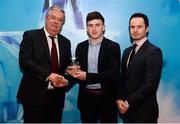 15 April 2019; Niall O'Leary of UCC who was named in the Electric Ireland HE GAA Rising Star Hurling Team of the Year 2019 is presented with his award by John Dwane of Electric Ireland, left, and Michael Hyland, Chairman, Higher Education GAA. The Electric Ireland HE GAA Rising Star Awards was hosted by Electric Ireland Sigerson and Fitzgibbon winners UCC where the overall Footballer and Hurler of the Year were announced as well as the overall Football and Hurling team of the Year for the Electric Ireland Sigerson, Fitzgibbon and Higher Education Championships. #FirstClassRivals Photo by Diarmuid Greene/Sportsfile