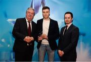 15 April 2019; Thomas Grimes of Mary Immaculate College who was named in the Electric Ireland HE GAA Rising Star Hurling Team of the Year 2019 is presented with his award by John Dwane of Electric Ireland, left, and Michael Hyland, Chairman, Higher Education GAA. The Electric Ireland HE GAA Rising Star Awards was hosted by Electric Ireland Sigerson and Fitzgibbon winners UCC where the overall Footballer and Hurler of the Year were announced as well as the overall Football and Hurling team of the Year for the Electric Ireland Sigerson, Fitzgibbon and Higher Education Championships. #FirstClassRivals Photo by Diarmuid Greene/Sportsfile