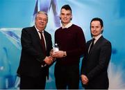 15 April 2019; Paddy O'Loughlin of UCC who was named in the Electric Ireland HE GAA Rising Star Hurling Team of the Year 2019 is presented with his award by John Dwane of Electric Ireland, left, and Michael Hyland, Chairman, Higher Education GAA. The Electric Ireland HE GAA Rising Star Awards was hosted by Electric Ireland Sigerson and Fitzgibbon winners UCC where the overall Footballer and Hurler of the Year were announced as well as the overall Football and Hurling team of the Year for the Electric Ireland Sigerson, Fitzgibbon and Higher Education Championships. #FirstClassRivals Photo by Diarmuid Greene/Sportsfile