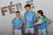 16 April 2019; John West Ambassador and Limerick Hurler Aaron Gillane with Daniel Kane, aged 13, and Mia Rooney, aged 13, from Lucan, Co. Dublin, at the launch of the 2019 John West Féile at Croke Park in Dublin. John West has been a sponsor of the Féile since 2016 and today announced it will continue its support for a further four seasons until 2022. John West is passionate about encouraging children to participate in Gaelic Games and puts an emphasis on the importance natural protein plays in fuelling young athletes #YourNaturalProteinPitstop. Photo by Sam Barnes/Sportsfile