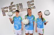 16 April 2019; John West Ambassador and Mayo Ladies Footballer Niamh Kelly, with Alex Derrien, aged 13, and Aoibheann Stokes, aged 13,from Lucan, Co. Dublin, at the launch of the 2019 John West Féile at Croke Park in Dublin. John West has been a sponsor of the Féile since 2016 and today announced it will continue its support for a further four seasons until 2022. John West is passionate about encouraging children to participate in Gaelic Games and puts an emphasis on the importance natural protein plays in fuelling young athletes #YourNaturalProteinPitstop. Photo by Sam Barnes/Sportsfile