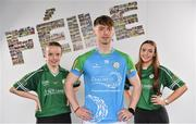 16 April 2019; David Walsh of Cork, with Katie Brennan, aged 13, left, and her sister Amy Brennan, aged 15, from Clogh, Co. Kilkenny,  at the launch of the 2019 John West Féile at Croke Park in Dublin. John West has been a sponsor of the Féile since 2016 and today announced it will continue its support for a further four seasons until 2022. John West is passionate about encouraging children to participate in Gaelic Games and puts an emphasis on the importance natural protein plays in fuelling young athletes #YourNaturalProteinPitstop. Photo by Sam Barnes/Sportsfile