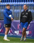 16 April 2019; Jordan Larmour, left, and senior coach Stuart Lancaster during Leinster squad training at Energia Park in Donnybrook, Co Dublin. Photo by David Fitzgerald/Sportsfile
