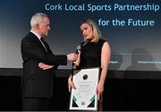 15 April 2019; Claire Hurley of Cork Local Sports Partnership in conversation with Vincent Wall, MC and Newstalk Business Editor, after winning the Local Sports Partnership Initiative of the Year Award during the Irish Sport Industry Awards presented by the Federation of Irish Sport at Crowne Plaza Blanchardstown. Photo by Sam Barnes/Sportsfile