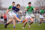 17 April 2019; Kyle Sheehy of Metropolitan kicks out under pressure from James Doyle of South East during the U16 Bank of Ireland Leinster Rugby Shane Horgan Cup Final Round match between Southeast and Metropolitan at IT Carlow in Moanacurragh, Carlow. Photo by Harry Murphy/Sportsfile