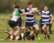 17 April 2019; Culann Carbery of North Midlands is tackled by Stephen Ryan of Midlands during the U16 Bank of Ireland Leinster Rugby Shane Horgan Cup Final Round match between North Midlands and Midlands at Cill Dara RFC in Dunmurray West, Kildare. Photo by Eóin Noonan/Sportsfile