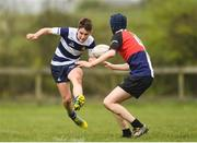 17 April 2019; Culann Carbery of North Midlands in action against Frank Salu of Midlands during the U16 Bank of Ireland Leinster Rugby Shane Horgan Cup Final Round match between North Midlands and Midlands at Cill Dara RFC in Dunmurray West, Kildare. Photo by Eóin Noonan/Sportsfile