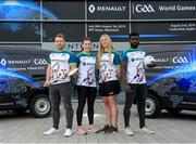 17 April 2019; In attendance, from left, Waterford hurler Noel Connors, Dublin footballer Lyndsey Davey, Waterford camogie player Niamh Murphy and Westmeath footballer Boidu Sayeh during the Waterford Launch of the Renault GAA World Games 2019 at the WIT Arena in Carriganore, Waterford. Photo by David Fitzgerald/Sportsfile