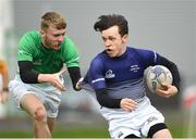 17 April 2019; Jack Foley of Metropolitan is tackled by Jamie Cooperof South East during the U18 Bank of Ireland Leinster Rugby Shane Horgan Cup - Final Round match between South East and Metropolitan at IT Carlow in Moanacurragh, Carlow. Photo by Harry Murphy/Sportsfile