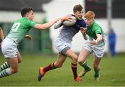 17 April 2019; Tadgh Finley of Metropolitan in action against Tim Corkery, left, and Shane McGuinness of South East during the U18 Bank of Ireland Leinster Rugby Shane Horgan Cup - Final Round match between South East and Metropolitan at IT Carlow in Moanacurragh, Carlow. Photo by Harry Murphy/Sportsfile