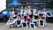 17 April 2019; In attendance are players, from left, Waterford hurler Noel Connors, Dublin footballer Lyndsey Davey, Waterford camogie player Niamh Murphy and Westmeath footballer Boidu Sayeh with children from various Waterford GAA Clubs during the Waterford Launch of the Renault GAA World Games 2019 at the WIT Arena in Carriganore, Waterford. Photo by David Fitzgerald/Sportsfile