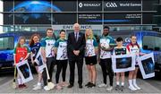 17 April 2019; In attendance is Uachtarán Chumann Lúthchleas Gael John Horan with players, from left, Waterford hurler Noel Connors, Dublin footballer Lyndsey Davey, Waterford camogie player Niamh Murphy and Westmeath footballer Boidu Sayeh and kids, from left, Sadie Carton of De La Salle, Aoife Ryan of Roanmore, Evan Flanagan of Mount Sion and Lauren O'Sullivan of Mount Sion during the Waterford Launch of the Renault GAA World Games 2019 at the WIT Arena in Carriganore, Waterford. Photo by David Fitzgerald/Sportsfile