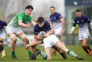 17 April 2019; Nathan Mullen of Metropolitan is tackled by Bryan Culleton, right, and Paul Deeny of South East during the U18 Bank of Ireland Leinster Rugby Shane Horgan Cup - Final Round match between South East and Metropolitan at IT Carlow in Moanacurragh, Carlow. Photo by Harry Murphy/Sportsfile