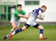 17 April 2019; Tadgh McKeever of Metropolitan is tackled by Tim Corkery of South East during the U18 Bank of Ireland Leinster Rugby Shane Horgan Cup - Final Round match between South East and Metropolitan at IT Carlow in Moanacurragh, Carlow. Photo by Harry Murphy/Sportsfile