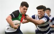 17 April 2019; David Manning of Midlands is tackled by Alex Robinson of North Midlands during the U18 Bank of Ireland Leinster Rugby Shane Horgan Cup - Final Round match between North Midlands and Midlands at Cill Dara RFC in Dunmurray West, Kildare. Photo by Eóin Noonan/Sportsfile