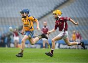 17 April 2019; Jody Canning, left, nephew of Galway senior hurler Joe Canning, representing Portumna GAA Club, Co. Galway, in action against Stephen Jennings of Clarinbridge GAA, Co. Galway during the Littlewoods Ireland Go Games Provincial Days in Croke Park. This year over 6,000 boys and girls aged between six and twelve represented their clubs in a series of mini blitzes and – just like their heroes – got to play in Croke Park, Dublin. Photo by Seb Daly/Sportsfile