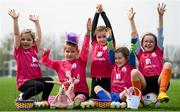 18 April 2019; Aviva Soccer Sisters Camps kicked off on Monday, April 15 in venues nationwide across the Easter holidays for girls aged 6-14, with over 5,317 registrations so far. Participating clubs will be given the opportunity to play in Aviva Stadium at the Aviva Dream Camp on May 29. All clubs will be entered into a draw to be held on Aviva Ireland social media channels on April 29. See Aviva Ireland social channels and #SafeToDream to find out more. Participants, from left, Sally O'Halloran, age 6, Shauna Joyce, age 8, Sarah McGilligan, age 8, Penny Roche, age 7, and Keris Uzell, age 7, during the Aviva Soccer Sisters Camp at Irishtown Centre in Ringsend, Dublin. Photo by Stephen McCarthy/Sportsfile
