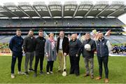 18 April 2019; National GAA Go Games Week takes place between Saturday April 13th and Sunday April 28th 2019, during the school Easter break. A launch blitz will take place in every county to mark to start of the 2019 playing season. This will be in addition to eight Go Games Blitzes that will take in Croke Park. 57,000 children took part nationally in 2018 and it is hoped to grow that this year. In attendance during the National Go Games Week Launch at Croke Park in Dublin are, from left, Cathal Cregg, Connacht GAA, The Two Johnnies, Louise Conlon, Technical Development and Participation Manager, Camogie Association, Pat Culhane, GAA National Games Development Officer, Lyn Savage, National Development Officer, Ladies Gaelic Football Association, John Prenty, Secretary of Connacht GAA and David Gough, Leinster GAA. Photo by Sam Barnes/Sportsfile