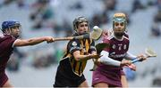 31 March 2019; Katie Power of Kilkenny in action against Niamh Kilkenny, left, and Emma Helebert of Galway during the Littlewoods Ireland Camogie League Division 1 Final match between Kilkenny and Galway at Croke Park in Dublin. Photo by Piaras Ó Mídheach/Sportsfile