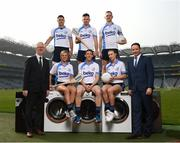 18 April 2019; Ian Collins, Managing Director, Beko Ireland, and Leinster GAA Vice Chairman Pat Teehan with players, top, from left, Shane Mulligan of Mullinalaghta GAA Club, Longford, Martin Kavanagh of St Mullins GAA Club, Carlow, and Conor McGill of Ratoath GAA Club, Meath, with, front, Grace Walsh of Tullaroan GAA Club, Kilkenny, Trevor Giles of Skyrne GAA Club, Meath, and Lauren Magee of Kilmacud Crokes GAA Club, Dublin, at the launch of the Beko Club Bua programme 2019, the quality mark for Leinster GAA clubs. For more information visit leinstergaa.ie/club-bua/. Photo by Stephen McCarthy/Sportsfile