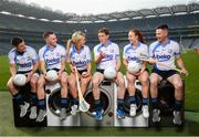 18 April 2019; Shane Mulligan of Mullinalaghta GAA Club, Longford, Conor McGill of Ratoath GAA Club, Meath, Grace Walsh of Tullaroan GAA Club, Kilkenny, Trevor Giles of Skyrne GAA Club, Meath, Lauren Magee of Kilmacud Crokes GAA Club, Dublin, and Martin Kavanagh of St Mullins GAA Club, Carlow, at the launch of the Beko Club Bua programme 2019, the quality mark for Leinster GAA clubs. For more information visit leinstergaa.ie/club-bua/. Photo by Stephen McCarthy/Sportsfile