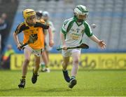 18 April 2019; Mark Doolan of Ballybrown GAA, Co. Limerick, in action against Hugo Quann of Lismore GAA, Co. Waterford, during the Littlewoods Ireland Go Games Provincial Days in Croke Park. This year over 6,000 boys and girls aged between six and twelve represented their clubs in a series of mini blitzes and – just like their heroes – got to play in Croke Park, Dublin. Photo by Seb Daly/Sportsfile