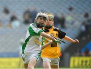 18 April 2019; James Smith of Ballybrown GAA, Co. Limerick, in action against Hugo Quann of Lismore GAA, Co. Waterford, during the Littlewoods Ireland Go Games Provincial Days in Croke Park. This year over 6,000 boys and girls aged between six and twelve represented their clubs in a series of mini blitzes and – just like their heroes – got to play in Croke Park, Dublin. Photo by Seb Daly/Sportsfile