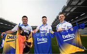 18 April 2019; Shane Mulligan of Mullinalaghta GAA Club, Longford, left, Martin Kavanagh of St Mullins GAA Club, Carlow, and Conor McGill of Ratoath GAA Club, Meath, right, at the launch of the Beko Club Bua programme 2019, the quality mark for Leinster GAA clubs. For more information visit leinstergaa.ie/club-bua/. Photo by Stephen McCarthy/Sportsfile