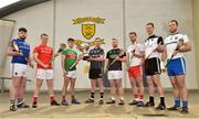 18 April 2019; Dean Bruen of Warwickshire with the Nicky Rackard Cup and from left Conor Gallagher of Longford, David Stephenson of Louth, Corey Scahill of Mayo, Simon Doherty of Armagh, Dermot Begley of Tyrone, Keith Raymond of Sligo and Kevin Crawley of Monaghan in attendance during the Nicky Rackard Cup Competition at the St Anne's GAA Club in Rathnure, Co. Wexford. Photo by Matt Browne/Sportsfile