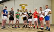 18 April 2019; Keith Raymond of Sligo with the Nicky Rackard Cup and from left Conor Gallagher of Longford, Dean Bruen of Warwickshire, Corey Scahill of Mayo, Simon Doherty of Armagh, David Stephenson of Louth, Dermot Begley of Tyrone and Kevin Crawley of Monaghan in attendance during the Nicky Rackard Cup Competition at the St Anne's GAA Club in Rathnure, Co. Wexford. Photo by Matt Browne/Sportsfile