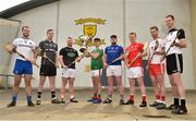 18 April 2019; Corey Scahill of Mayo with the Nicky Rackard Cup and from left Kevin Crawley of Monaghan, Dean Bruen of Warwickshire, Simon Doherty of Armagh, Conor Gallagher of Longford, David Stephenson of Louth, Dermot Begley of Tyrone and Keith Raymond of Sligo in attendance during the Nicky Rackard Cup Competition at the St Anne's GAA Club in Rathnure, Co. Wexford. Photo by Matt Browne/Sportsfile