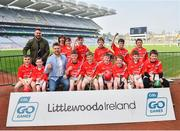 18 April 2019; Corofin GAA, Co. Clare, with The 2 Johnnies, during the Littlewoods Ireland Go Games Provincial Days in Croke Park. This year over 6,000 boys and girls aged between six and twelve represented their clubs in a series of mini blitzes and – just like their heroes – got to play in Croke Park, Dublin. Photo by Seb Daly/Sportsfile