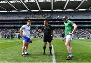 31 March 2019; Referee James Owens with team captains Noel Connors of Waterford and Declan Hannon of Limerick before the Allianz Hurling League Division 1 Final match between Limerick and Waterford at Croke Park in Dublin. Photo by Piaras Ó Mídheach/Sportsfile
